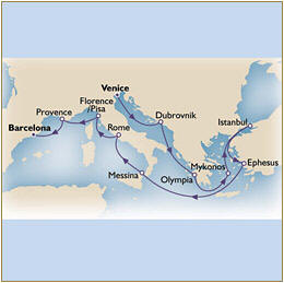 Map Cunard QueenVictoria QV 2010 Venice to Barcelona