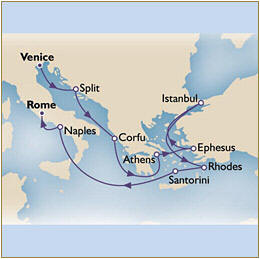 Map Cunard QueenVictoria QV 2010 Venice to Civitavecchia