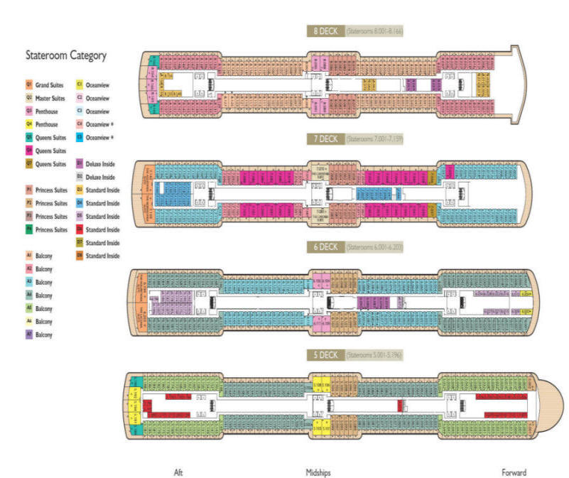 Charters, Groups, Penthouse, Balcony, Windows, Owner Suite, Veranda - Cruises Click - Charters, Groups, Penthouse, Balcony, Windows, Owner Suite, Veranda - Luxury Cunard Cruises - Queen Victoria Deck Plan
