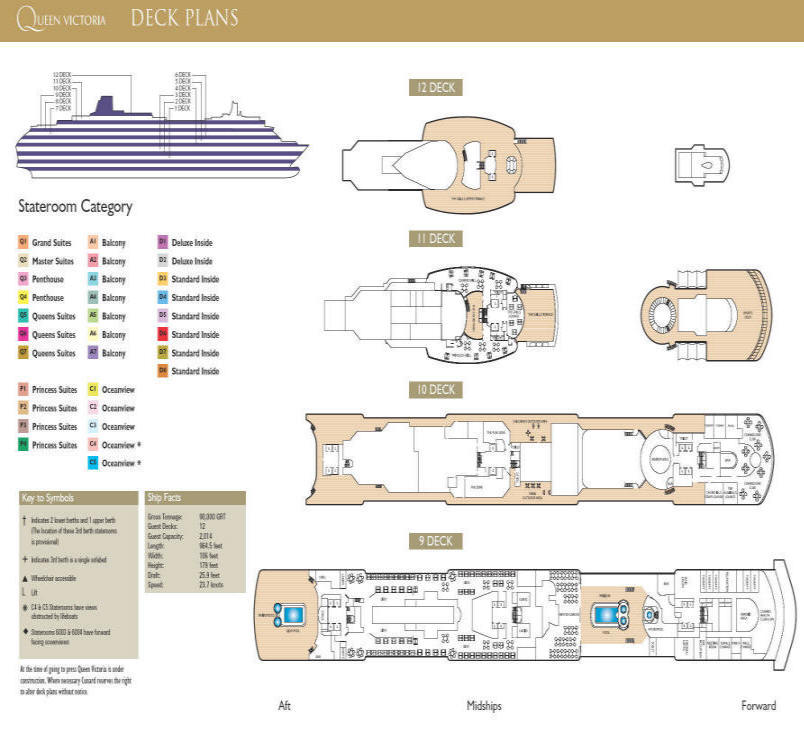 Single Balconies/Suites Click - Queen Victoria Deck Plan