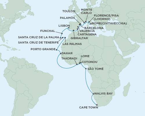 Cruises Seven Seas Mariner October 21 November 24 2015 - 34 Days