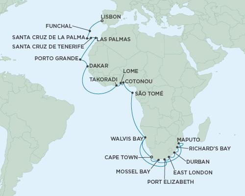 LUXURY CRUISES - Balconies and Suites Cruises Seven Seas Mariner October 31 December 9 2018 - 39 Days