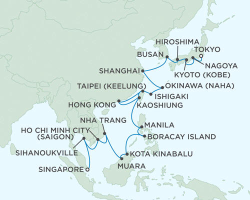 ALL SUITE CRUISE SHIPS - Regent Seas Seas Voyager Cruises March 11 April 13 2015 - 33 Days