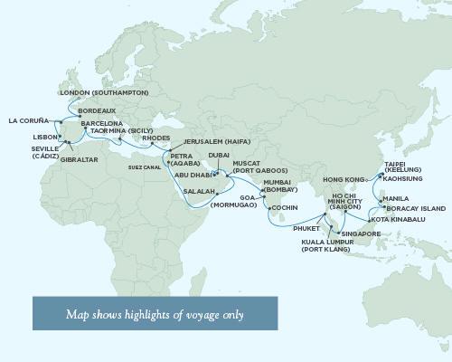 LUXURY WORLD CRUISES - Penthouse, Veranda, Balconies, Windows and Suites Regent Seas Seas Voyager Cruises March 27 June 6 2021 - 71 Days
