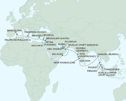 ALL SUITE CRUISE SHIPS - Regent Seas Seas Voyager Cruises April 13 May 23 2015 - 40 Days