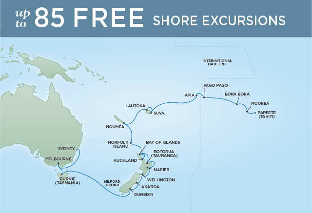 Regent/Radisson Luxury Cruises PACIFIC WONDER | 29 NIGHTS | DEPARTS FEB 28, 2020 |  Navigator