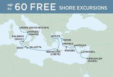 SINGLE Cruise - Balconies-Suites Regent Seven Seas Explorer Map November 2-16 2019 - 14 Nights JERUSALEM (HAIFA) TO ROME (CIVITAVECCHIA)