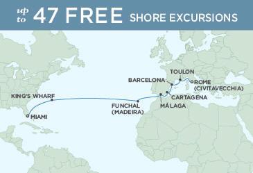 SINGLE Cruise - Balconies-Suites Map November 16 December 2 2019 - 16 Nights Rome (Civitavecchia) to Miami regent explorer