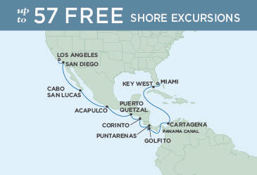 LUXURY CRUISE - Balconies-Suites Map Regent Explorer December 28 2019 January 13 2020 - 17 Days Miami to Los Angeles