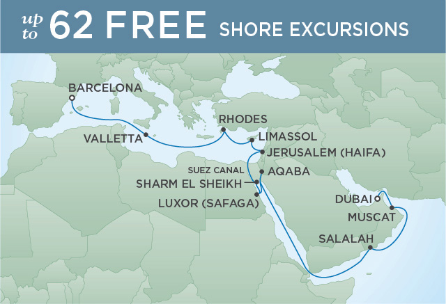 REGENT CRUISES SAILING THE SUEZ | 21 NIGHTS | DEPARTS OCT 26, 2019 | Seven Seas Voyager