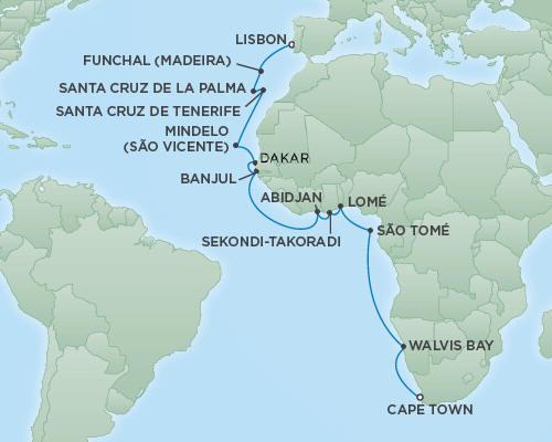 Regent/Radisson Luxury Cruises RSSC Regent Seven Explorer Map Detail Lisbon, Portugal to Cape Town, South Africa November 28 December 22 2022 - 24 Days