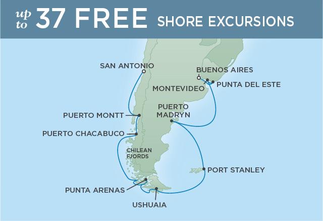 Regent/Radisson Luxury Cruises ISLANDS & FJORDS OF SOUTH AMERICA   16 NIGHTS   DEPARTS FEB 01, 2019    Explorer