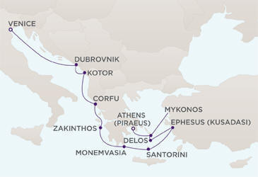 Luxury Cruise - Map Luxury Cruise RegentCruises RSSC Mariner 2021