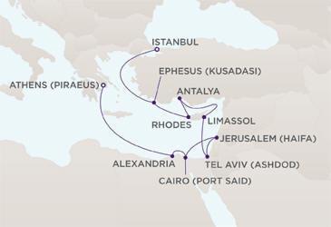 Map Radisson Seven Seas Cruises RSSC Mariner 2011