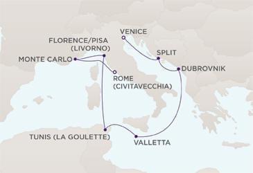 Map Regent Seven Seas Cruises RSSC Mariner 2027
