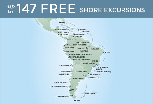 Regent/Radisson Luxury Cruises CIRCLE SOUTH AMERICA | 66 NIGHTS | DEPARTS NOV 01, 2021 |  Mariner