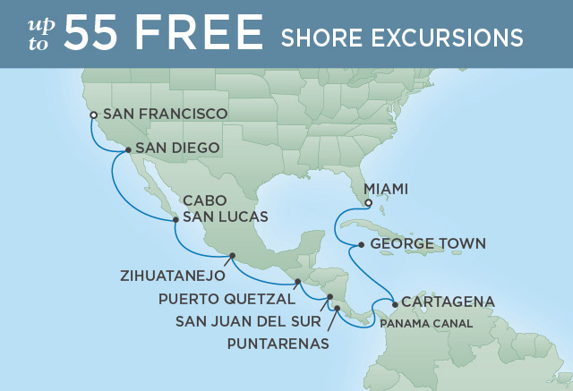 REGENT CRUISES GRAND CANAL TO GOLDEN CALIFORNIA | 18 NIGHTS | DEPARTS JAN 06, 2020 | Seven Seas Mariner