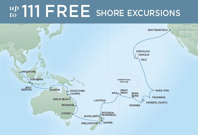 Regent/Radisson Luxury Cruises PACIFIC TREASURES | 54 NIGHTS | DEPARTS JAN 24, 2020 |  Mariner
