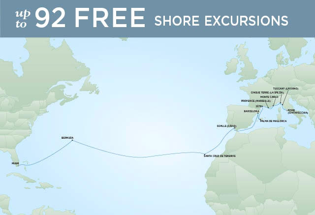 Itinerary Map Regent Seven Seas Mariner Cruises, World Cruise RSSC