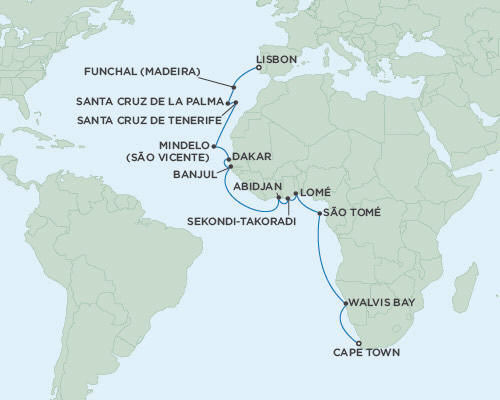 Singles Cruise - Balconies-Suites Regent Navigator 2019 October 23 November 16 2019 - 24 Days Lisbon to Cape Town