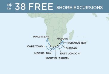 Singles Cruise - Balconies-Suites Map Regent Navigator 2019 November 16 December 1 2019 - 15 Days CAPE TOWN TO CAPE TOWN