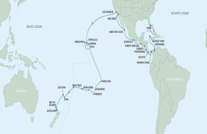 Regent/Radisson Luxury Cruises Regent Navigator 2022 January 5 February 19 2022 - 45 Days MIAMI TO AUCKLAND