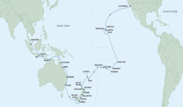 Just Regent Seven Seas Cruises Navigator 2024 - January 21 March 16 2024 - 54 Days LOS ANGELES TO SINGAPORE