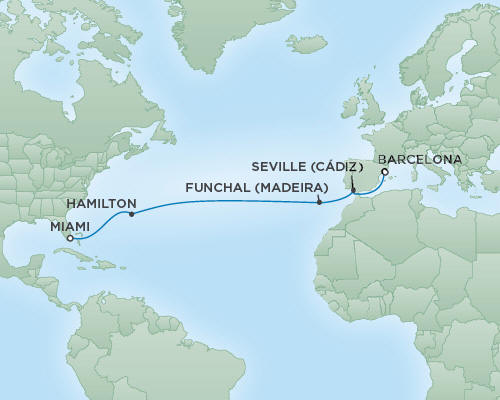 Cruises RSSC Regent Seven Voyager Map Detail Miami, Florida to Barcelona, Spain March 22 April 5 2019 - 14 Days