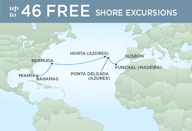 Itinerary Map Regent Seven Seas Voyager Cruises, World Cruise RSSC