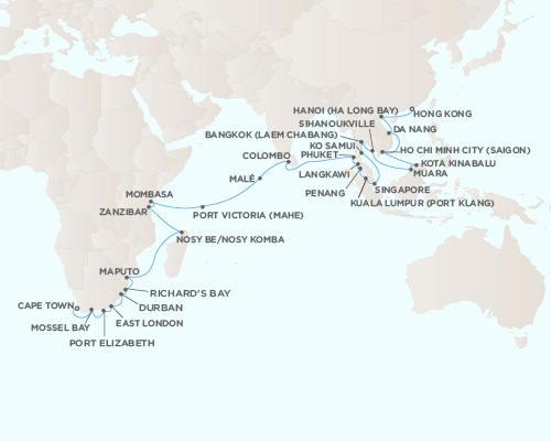 Radisson Seven Seas Voyager Cruises December 21 2021 January 18 2022 - 28 Days