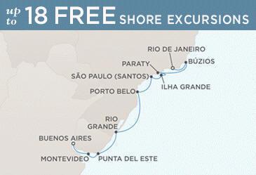 Regent Mariner Map BUENOS AIRES TO RIO DE JANEIRO