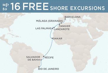 Regent Mariner Map RIO DE JANEIRO TO BARCELONA