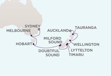 MAP - Regent  Voyager World Cruises 2028
