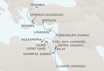 MAP - Regent Seven Seas Voyager World Cruises 2028