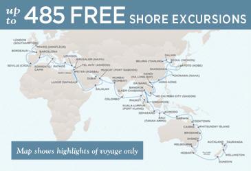Radisson Seven Seas Cruises Voyager 2021 Map January 17 June 2 2021 - 136 Days