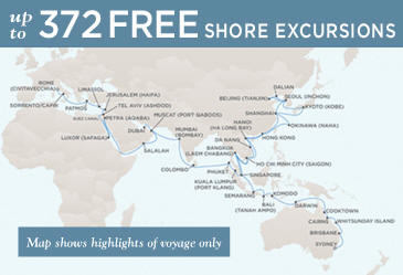 Regent Cruises Voyager 2014 Map February 1 May 18 2014 - 106 Days
