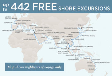Radisson Seven Seas Cruises Voyager 2014 Map February 1 June 2 2014 - 121 Days