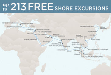 Regent Cruises Voyager 2014 Map March 21 May 18 2014 - 58 Days