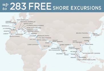 Radisson Seven Seas Cruises Voyager 2021 Map March 21 June 2 2021 - 73 Days