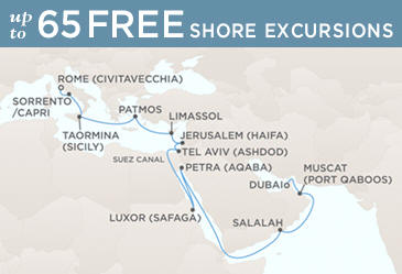 Radisson Seven Seas Cruises Voyager 2021 Map DUBAI TO ROME (CIVITAVECCHIA)