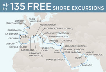 Radisson Seven Seas Cruises Voyager 2014 Map April 28 June 2 2014 - 35 Days