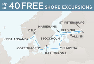 Regent Seven Seas Cruises Voyager 2014 Map STOCKHOLM TO OSLO