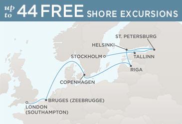 Radisson Seven Seas Cruises Voyager 2014 Map STOCKHOLM TO LONDON (SOUTHAMPTON)