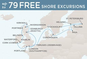 World CRUISE SHIP BIDS - Regent CRUISE SHIP Voyager 2021 Map STOCKHOLM TO LONDON (SOUTHAMPTON)