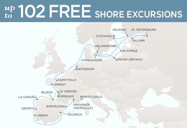 Radisson Seven Seas Cruises Voyager 2021 Map COPENHAGEN TO MONTE CARLO