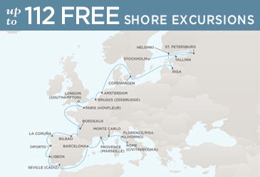 Radisson Seven Seas Cruises Voyager 2014 Map ROME (CIVITAVECCHIA) TO STOCKHOLM