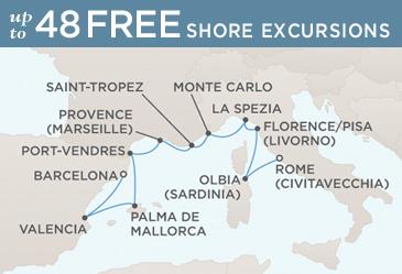 Cruises Around The World Regent Seven Seas Mariner 2020 World Cruise Map BARCELONA TO ROME (CIVITAVECCHIA)