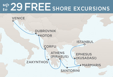 Regent Mariner 2014 World Cruise Map VENICE TO ISTANBUL
