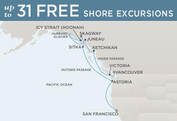 Regent  Cruises Navigator 2014 Map VANCOUVER TO VANCOUVER