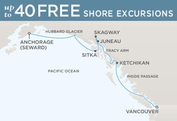 Regent  Cruises Navigator 2019 Map VANCOUVER TO ANCHORAGE (SEWARD)